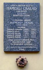 Hamerli János emléktábla, Pécs - Hamerli család